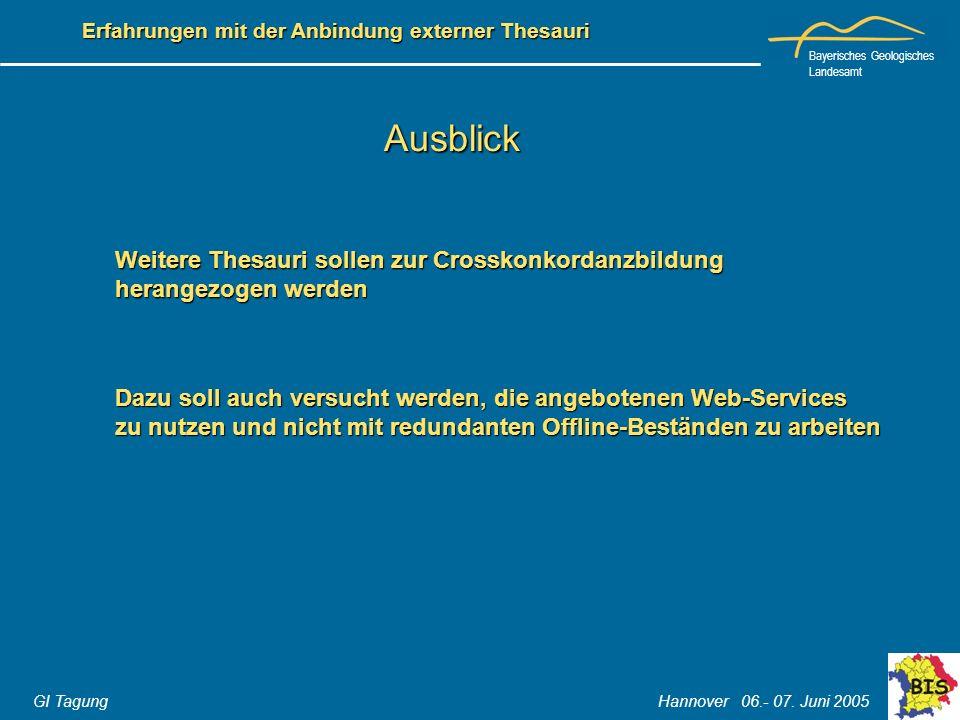 Bayerisches Geologisches Landesamt GI Tagung Hannover 06.- 07. Juni 2005 Erfahrungen mit der Anbindung externer Thesauri Ausblick Weitere Thesauri sol