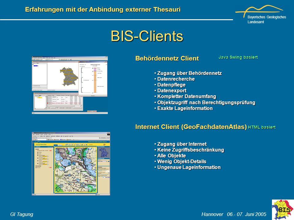 Bayerisches Geologisches Landesamt GI Tagung Hannover 06.- 07. Juni 2005 Erfahrungen mit der Anbindung externer Thesauri BIS-Clients Behördennetz Clie