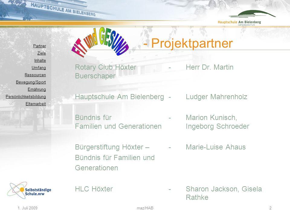 Ganztagsschule 1. Juli 2009maz/HAB2 Partner Ziele Inhalte Umfang Ressourcen Bewegung/Sport Ernährung Persönlichkeitsbildung Elternarbeit - Projektpart