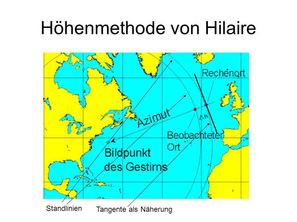 Höhenmethode von Hilaire Standlinien Tangente als Näherung