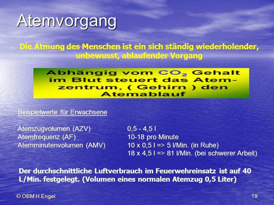 © OBM H.Engel19 Atemvorgang Beispielwerte für Erwachsene Atemzugvolumen (AZV)0,5 - 4,5 l Atemfrequenz (AF)10-18 pro Minute Atemminutenvolumen (AMV)10