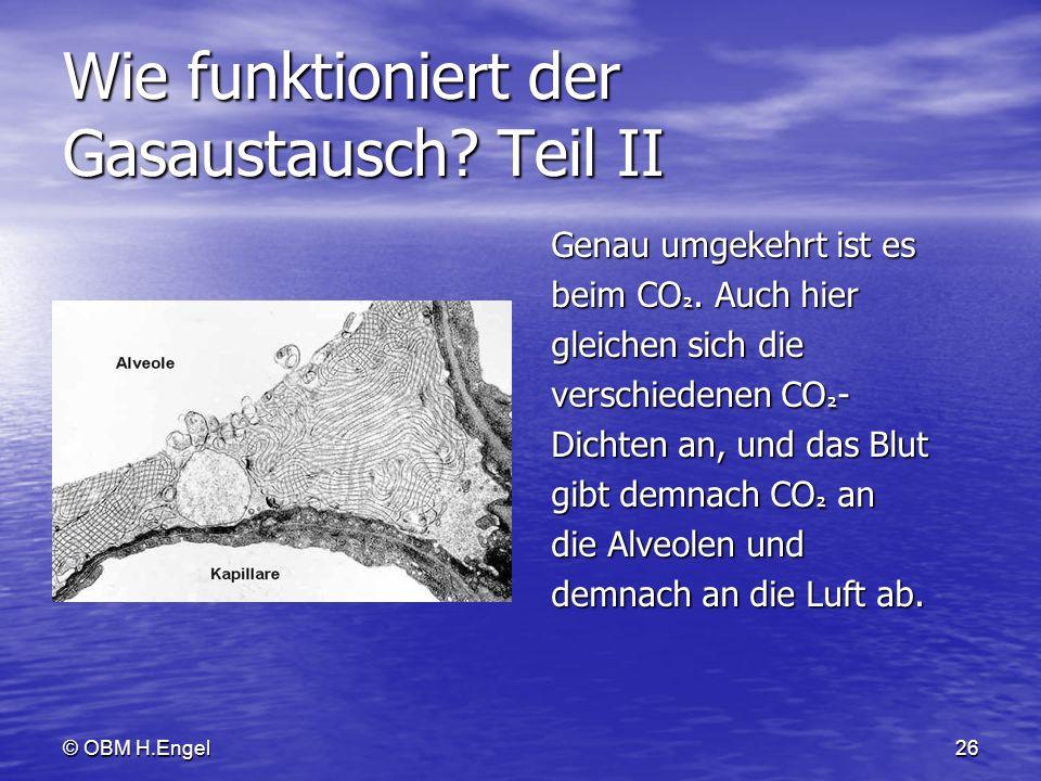 © OBM H.Engel26 Wie funktioniert der Gasaustausch? Teil II Genau umgekehrt ist es Genau umgekehrt ist es beim CO ². Auch hier beim CO ². Auch hier gle