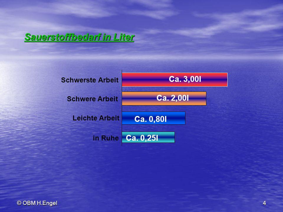 © OBM H.Engel4 Sauerstoffbedarf in Liter Ca. 0,25l Ca. 0,80l Ca. 2,00l Ca. 3,00l in Ruhe Leichte Arbeit Schwere Arbeit Schwerste Arbeit