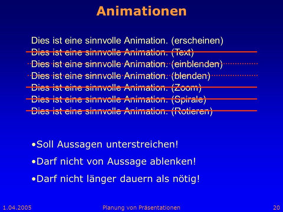 1.04.2005Planung von Präsentationen20 Animationen Dies ist eine sinnvolle Animation. (Text) Dies ist eine sinnvolle Animation. (blenden) Dies ist eine