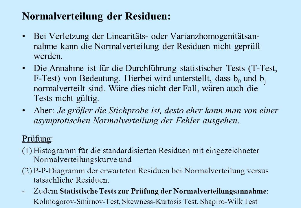 Normalverteilung der Residuen: Bei Verletzung der Linearitäts- oder Varianzhomogenitätsan- nahme kann die Normalverteilung der Residuen nicht geprüft