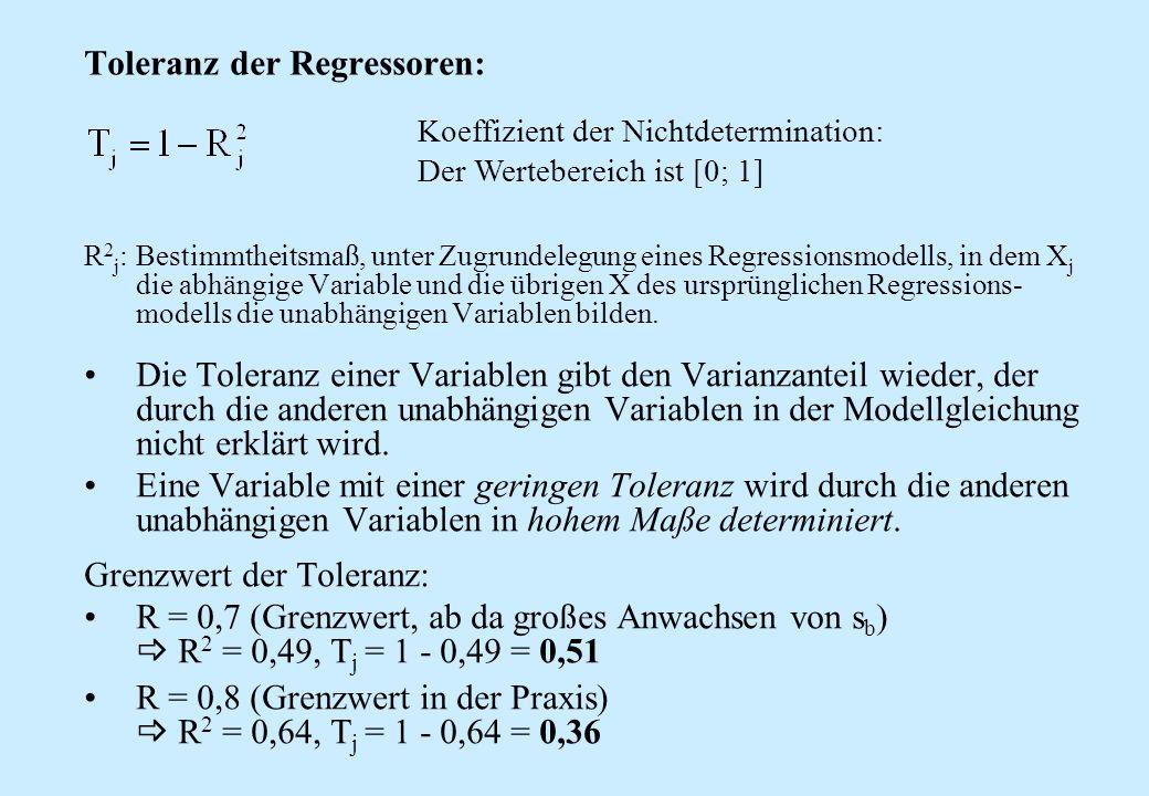 Toleranz der Regressoren: R 2 j :Bestimmtheitsmaß, unter Zugrundelegung eines Regressionsmodells, in dem X j die abhängige Variable und die übrigen X