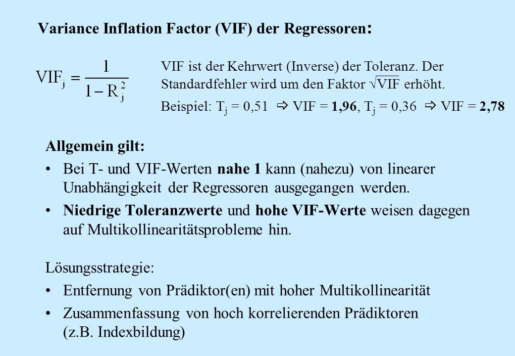 Variance Inflation Factor (VIF) der Regressoren : Allgemein gilt: Bei T- und VIF-Werten nahe 1 kann (nahezu) von linearer Unabhängigkeit der Regressor