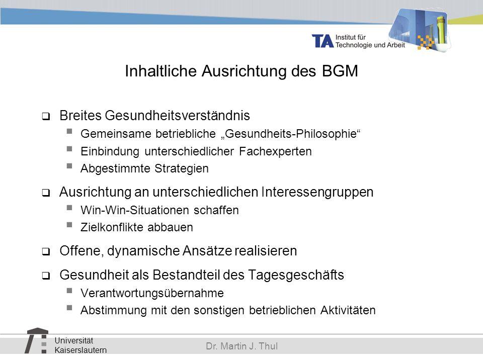 Universität Kaiserslautern Dr. Martin J. Thul Inhaltliche Ausrichtung des BGM Breites Gesundheitsverständnis Gemeinsame betriebliche Gesundheits-Philo