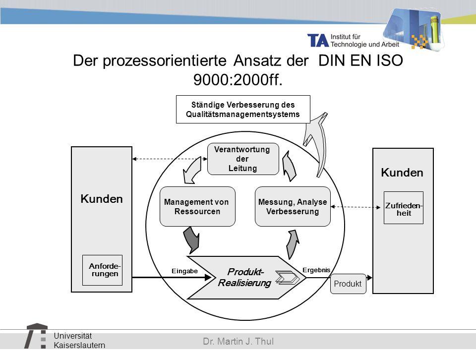 Universität Kaiserslautern Dr. Martin J. Thul Der prozessorientierte Ansatz der DIN EN ISO 9000:2000ff. Produkt- Realisierung Eingabe Ergebnis Kunden