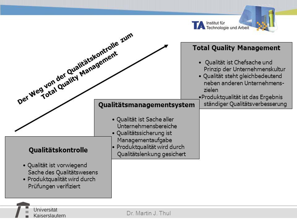 Universität Kaiserslautern Dr. Martin J. Thul Total Quality Management Qualität ist Chefsache und Prinzip der Unternehmenskultur Qualität steht gleich