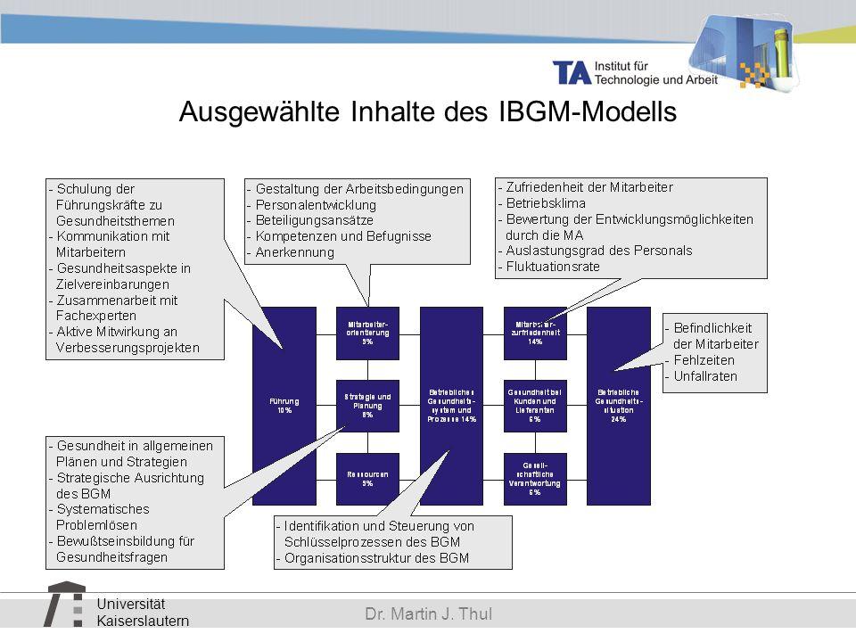 Universität Kaiserslautern Dr. Martin J. Thul Ausgewählte Inhalte des IBGM-Modells