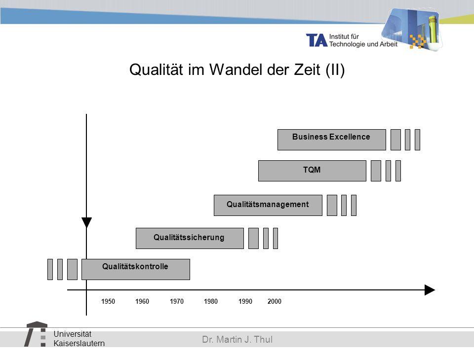 Universität Kaiserslautern Dr. Martin J. Thul Qualität im Wandel der Zeit (II) Qualitätssicherung Qualitätskontrolle 195019901980197019602000 Business