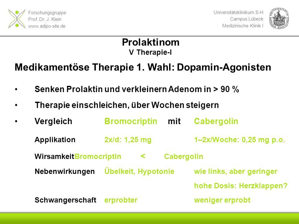 Forschungsgruppe Prof. Dr. J. Klein www.adipo-site.de Universitätsklinikum S-H Campus Lübeck Medizinische Klinik I Medikamentöse Therapie 1. Wahl: Dop