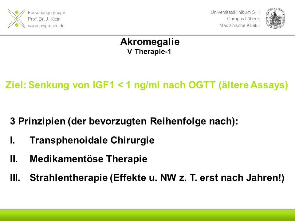 Forschungsgruppe Prof. Dr. J. Klein www.adipo-site.de Universitätsklinikum S-H Campus Lübeck Medizinische Klinik I 3 Prinzipien (der bevorzugten Reihe