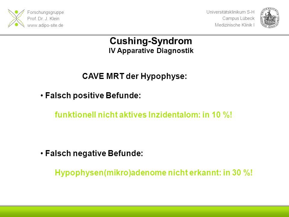 Forschungsgruppe Prof. Dr. J. Klein www.adipo-site.de Universitätsklinikum S-H Campus Lübeck Medizinische Klinik I Cushing-Syndrom IV Apparative Diagn