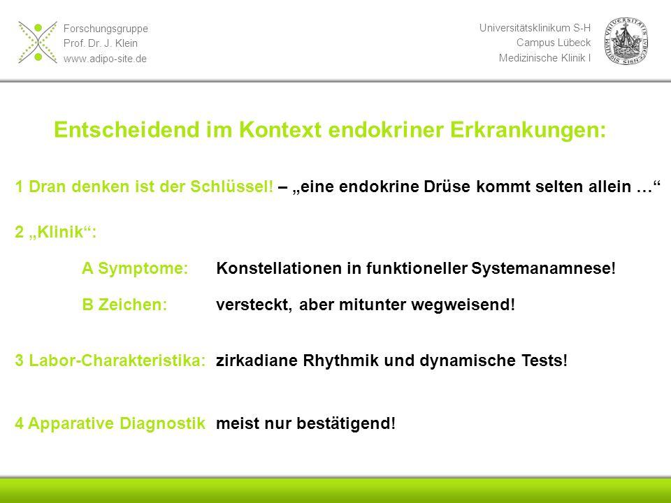 Forschungsgruppe Prof. Dr. J. Klein www.adipo-site.de Universitätsklinikum S-H Campus Lübeck Medizinische Klinik I Entscheidend im Kontext endokriner