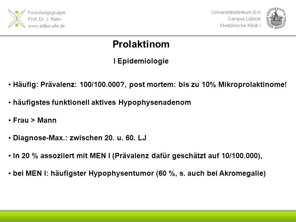 Forschungsgruppe Prof. Dr. J. Klein www.adipo-site.de Universitätsklinikum S-H Campus Lübeck Medizinische Klinik I Prolaktinom Häufig: Prävalenz: 100/