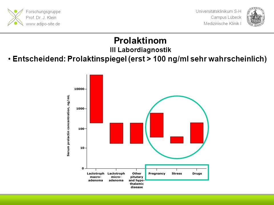 Forschungsgruppe Prof. Dr. J. Klein www.adipo-site.de Universitätsklinikum S-H Campus Lübeck Medizinische Klinik I Entscheidend: Prolaktinspiegel (ers