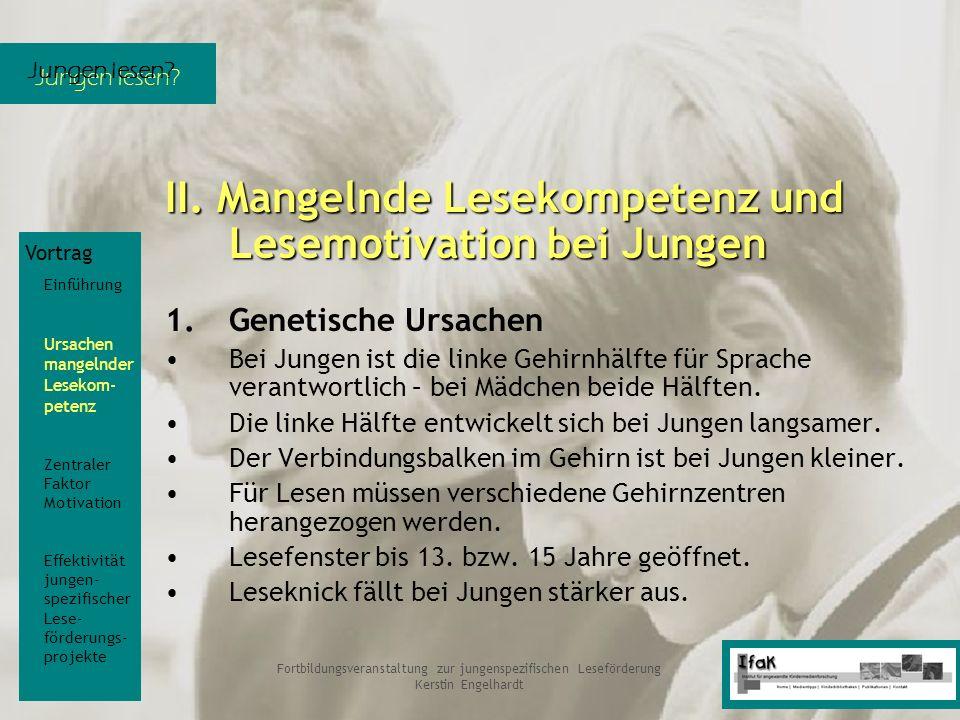 Jungen lesen? Fortbildungsveranstaltung zur jungenspezifischen Leseförderung Kerstin Engelhardt II. Mangelnde Lesekompetenz und Lesemotivation bei Jun
