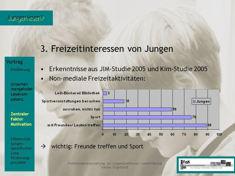 Jungen lesen? Fortbildungsveranstaltung zur jungenspezifischen Leseförderung Kerstin Engelhardt 3. Freizeitinteressen von Jungen Erkenntnisse aus JIM-