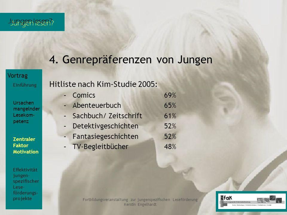 Jungen lesen? Fortbildungsveranstaltung zur jungenspezifischen Leseförderung Kerstin Engelhardt 4. Genrepräferenzen von Jungen Hitliste nach Kim-Studi