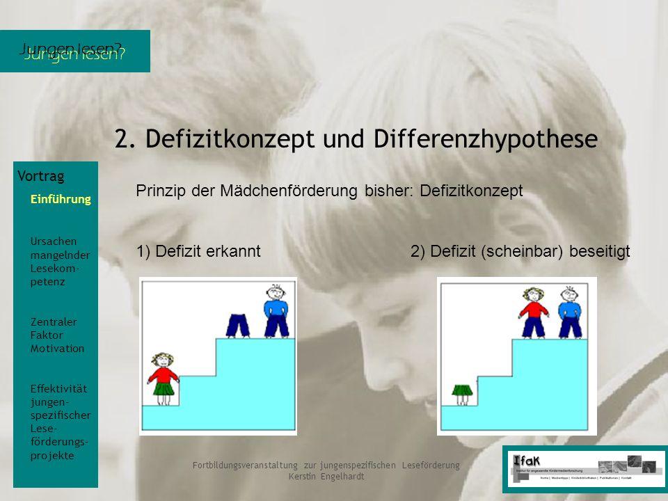 Jungen lesen? Fortbildungsveranstaltung zur jungenspezifischen Leseförderung Kerstin Engelhardt 2. Defizitkonzept und Differenzhypothese Vortrag Einfü