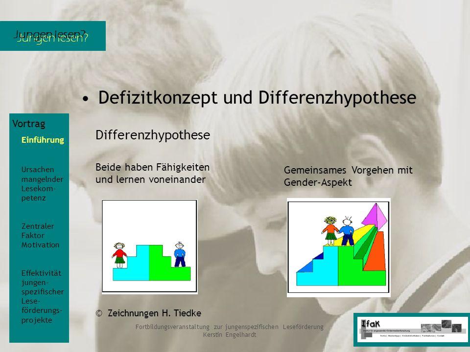 Jungen lesen? Fortbildungsveranstaltung zur jungenspezifischen Leseförderung Kerstin Engelhardt Defizitkonzept und Differenzhypothese Vortrag Einführu
