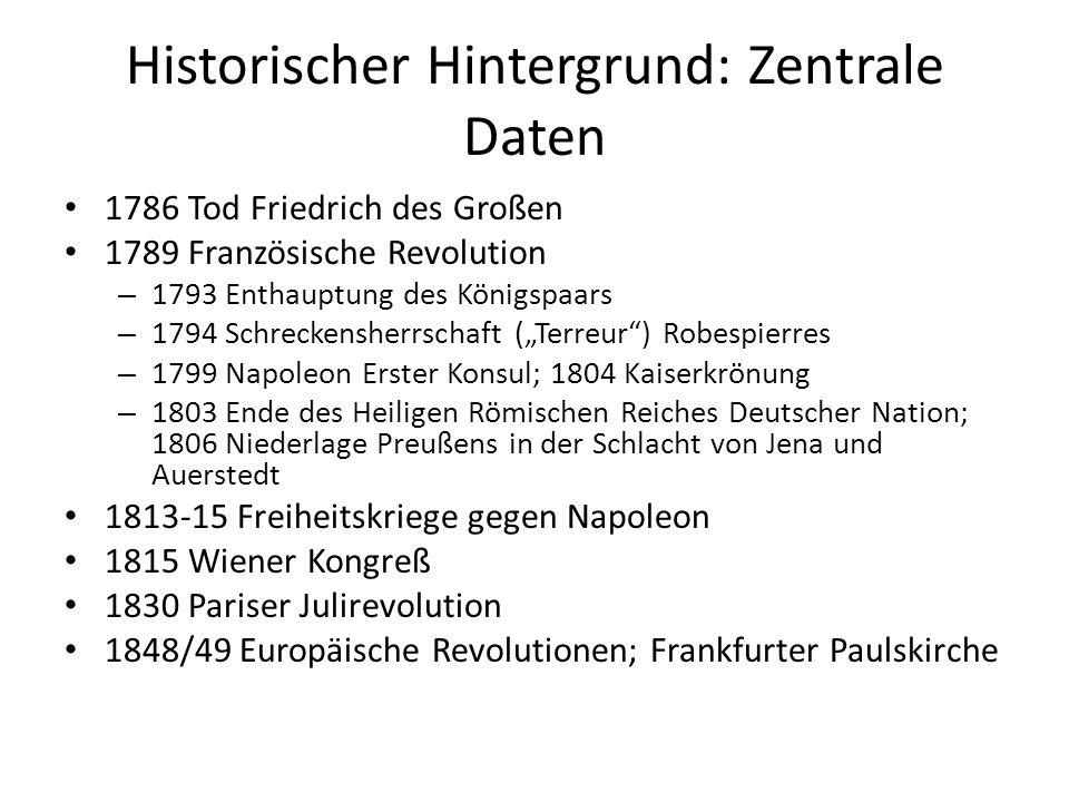 Historischer Hintergrund: Zentrale Daten 1786 Tod Friedrich des Großen 1789 Französische Revolution – 1793 Enthauptung des Königspaars – 1794 Schrecke