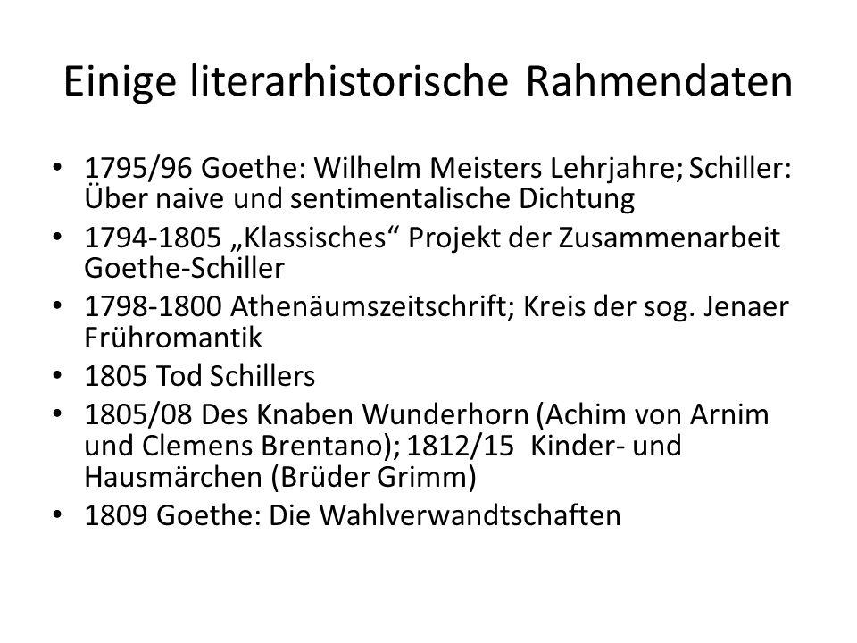 Einige literarhistorische Rahmendaten 1795/96 Goethe: Wilhelm Meisters Lehrjahre; Schiller: Über naive und sentimentalische Dichtung 1794-1805 Klassis