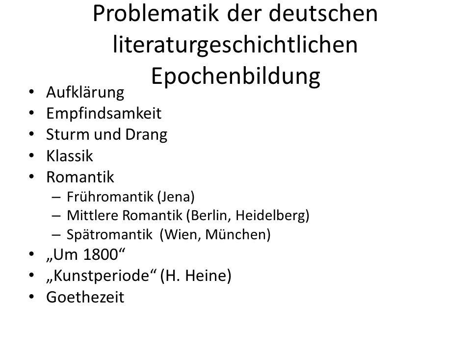 Problematik der deutschen literaturgeschichtlichen Epochenbildung Aufklärung Empfindsamkeit Sturm und Drang Klassik Romantik – Frühromantik (Jena) – M