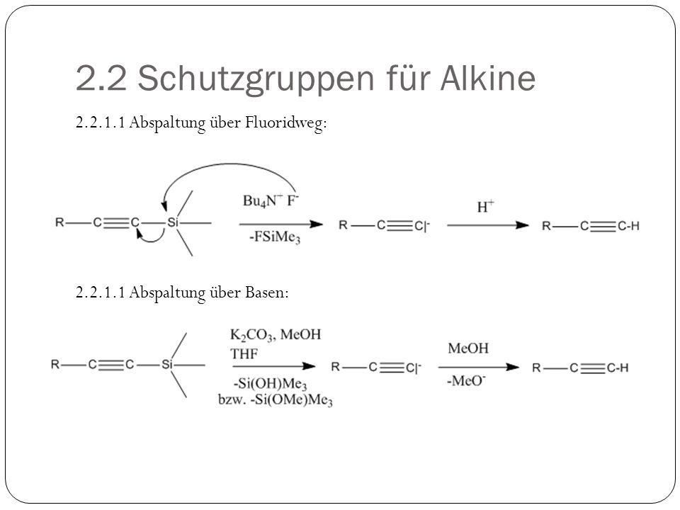 2.2 Schutzgruppen für Alkine 2.2.1.1 Abspaltung über Fluoridweg: 2.2.1.1 Abspaltung über Basen: