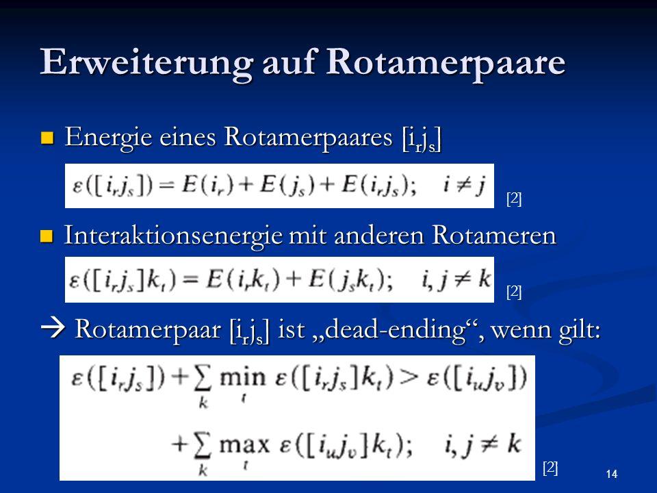 14 Erweiterung auf Rotamerpaare Energie eines Rotamerpaares [i r j s ] Energie eines Rotamerpaares [i r j s ] Interaktionsenergie mit anderen Rotamere