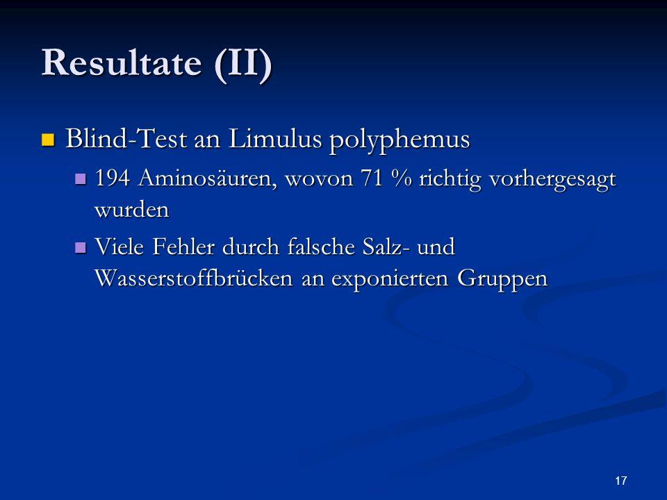 17 Resultate (II) Blind-Test an Limulus polyphemus Blind-Test an Limulus polyphemus 194 Aminosäuren, wovon 71 % richtig vorhergesagt wurden 194 Aminos