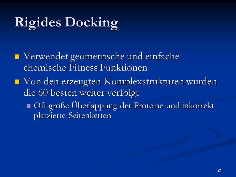 21 Rigides Docking Verwendet geometrische und einfache chemische Fitness Funktionen Verwendet geometrische und einfache chemische Fitness Funktionen V