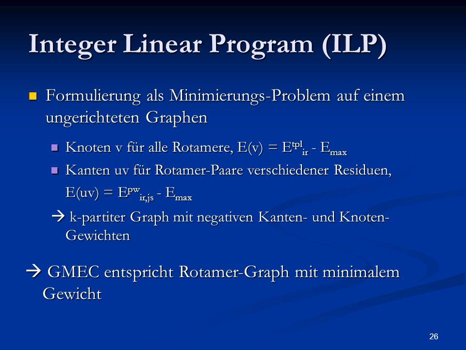 26 Integer Linear Program (ILP) Formulierung als Minimierungs-Problem auf einem ungerichteten Graphen Formulierung als Minimierungs-Problem auf einem