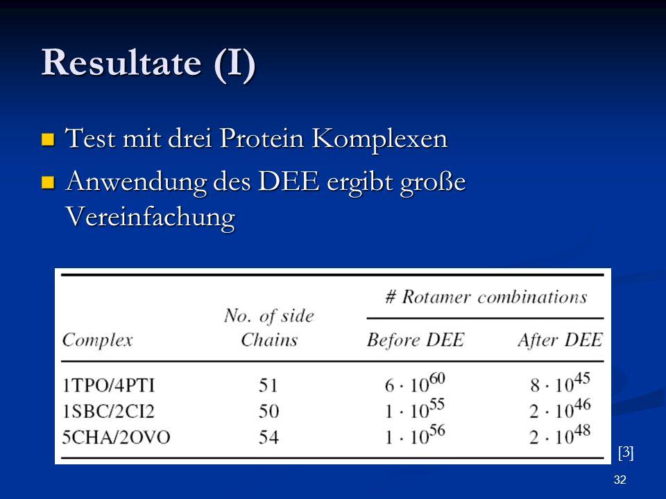32 Resultate (I) Test mit drei Protein Komplexen Test mit drei Protein Komplexen Anwendung des DEE ergibt große Vereinfachung Anwendung des DEE ergibt