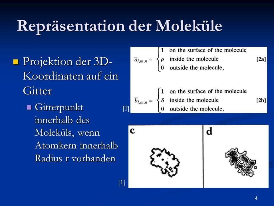 4 Repräsentation der Moleküle Projektion der 3D- Koordinaten auf ein Gitter Projektion der 3D- Koordinaten auf ein Gitter Gitterpunkt innerhalb des Mo