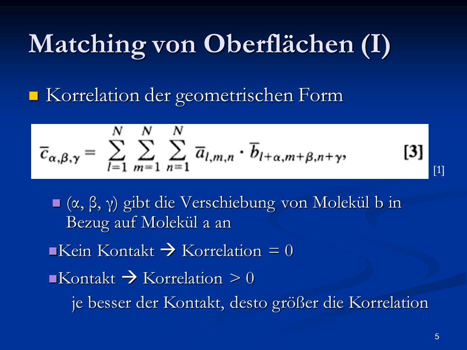 5 Matching von Oberflächen (I) Korrelation der geometrischen Form Korrelation der geometrischen Form (α, β, γ) gibt die Verschiebung von Molekül b in