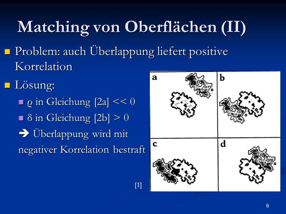 6 Matching von Oberflächen (II) Problem: auch Überlappung liefert positive Korrelation Problem: auch Überlappung liefert positive Korrelation Lösung: