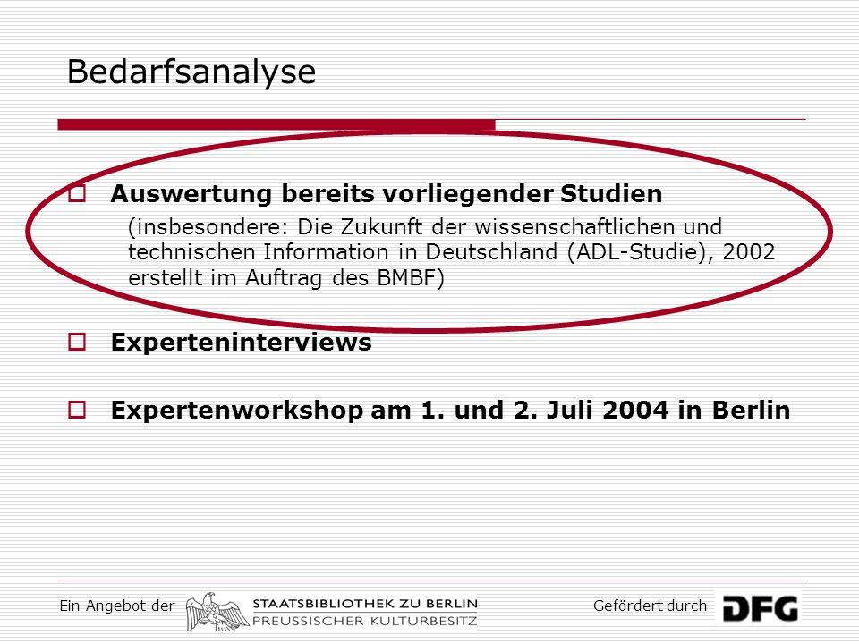 Ein Angebot derGefördert durch Auswertung bereits vorliegender Studien (insbesondere: Die Zukunft der wissenschaftlichen und technischen Information in Deutschland (ADL-Studie), 2002 erstellt im Auftrag des BMBF) Experteninterviews Expertenworkshop am 1.