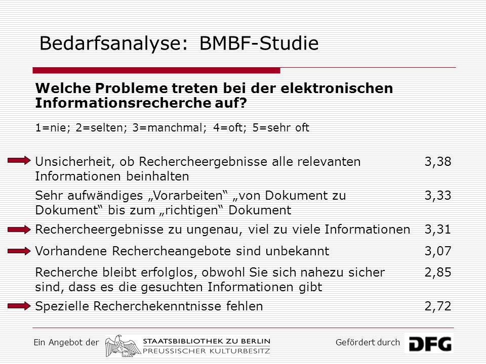 Ein Angebot derGefördert durch Bedarfsanalyse: BMBF-Studie Wie lässt sich die elektronische Informationsrecherche Ihrer Meinung nach verbessern.