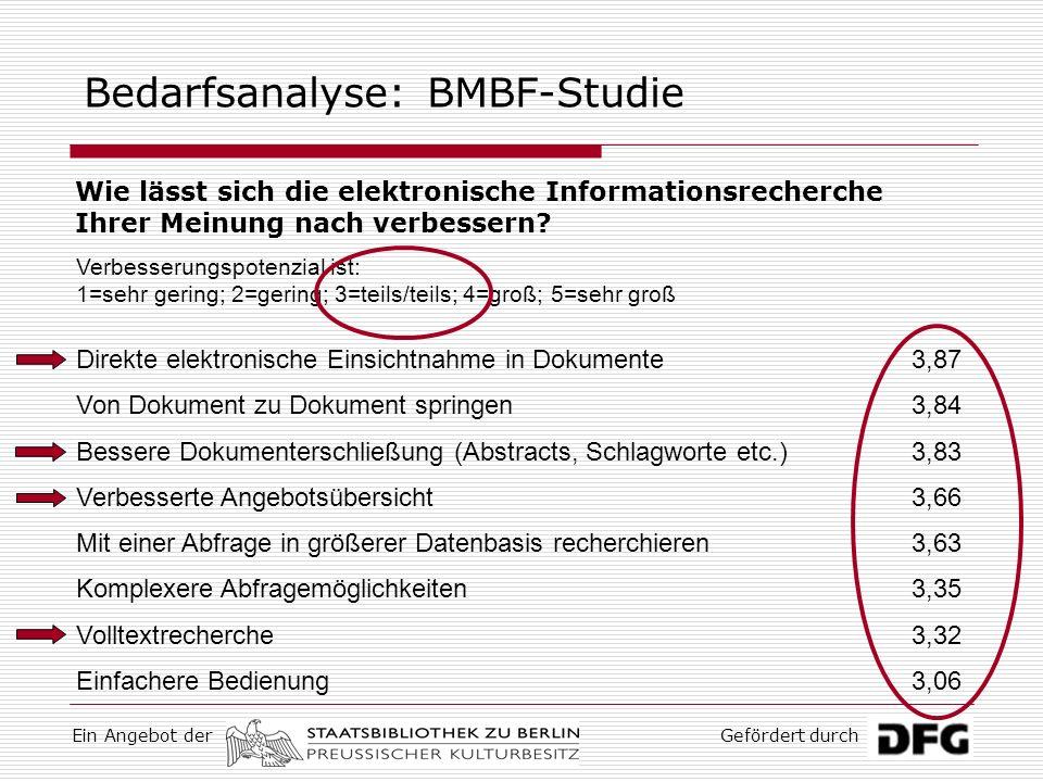 Ein Angebot derGefördert durch Bedarfsanalyse: BMBF-Studie In welcher Hinsicht sehen Sie Bedarf bzw.