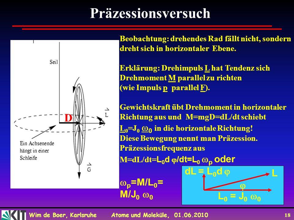 Wim de Boer, Karlsruhe Atome und Moleküle, 01.06.2010 18 Präzessionsversuch Beobachtung: drehendes Rad fällt nicht, sondern dreht sich in horizontaler