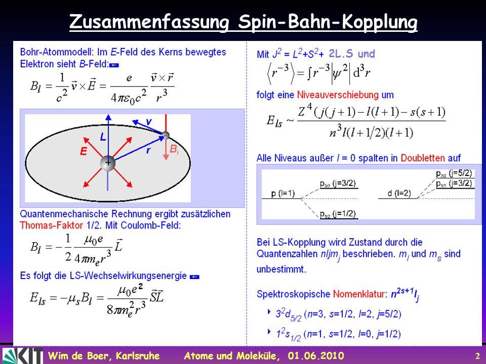 Wim de Boer, Karlsruhe Atome und Moleküle, 01.06.2010 13 Aufhebung der Entartung bei der Wasserstoff Balmer-Linie Hα n=2 n=3 l =1 l =0 l =1 l =2 l =0 n