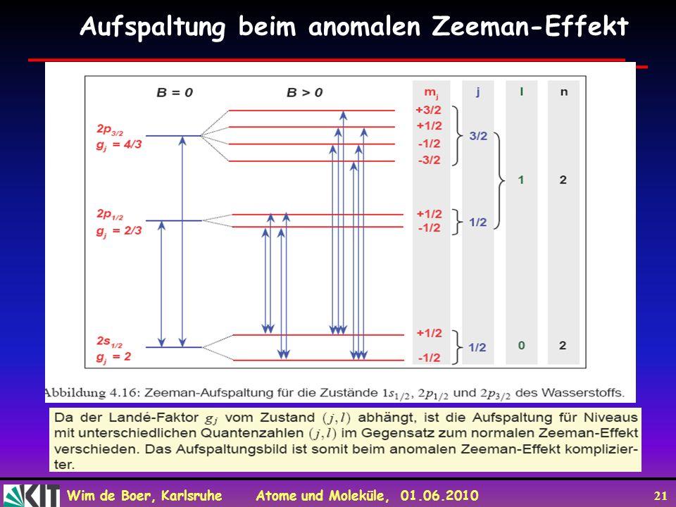 Wim de Boer, Karlsruhe Atome und Moleküle, 01.06.2010 21 Aufspaltung beim anomalen Zeeman-Effekt