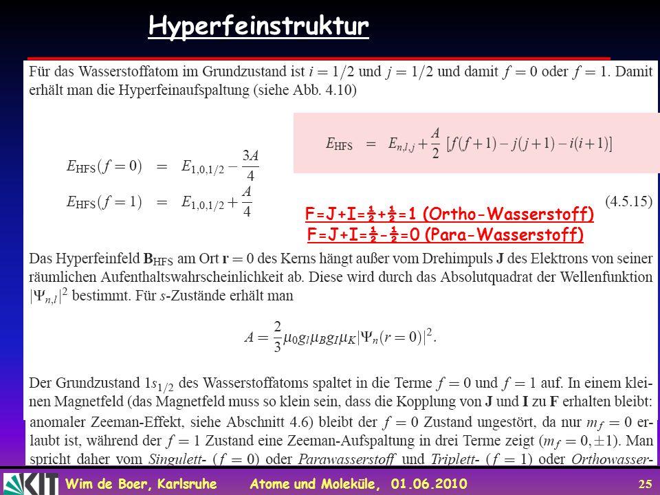 Wim de Boer, Karlsruhe Atome und Moleküle, 01.06.2010 25 Hyperfeinstruktur F=J+I=½+½=1 (Ortho-Wasserstoff) F=J+I=½-½=0 (Para-Wasserstoff)