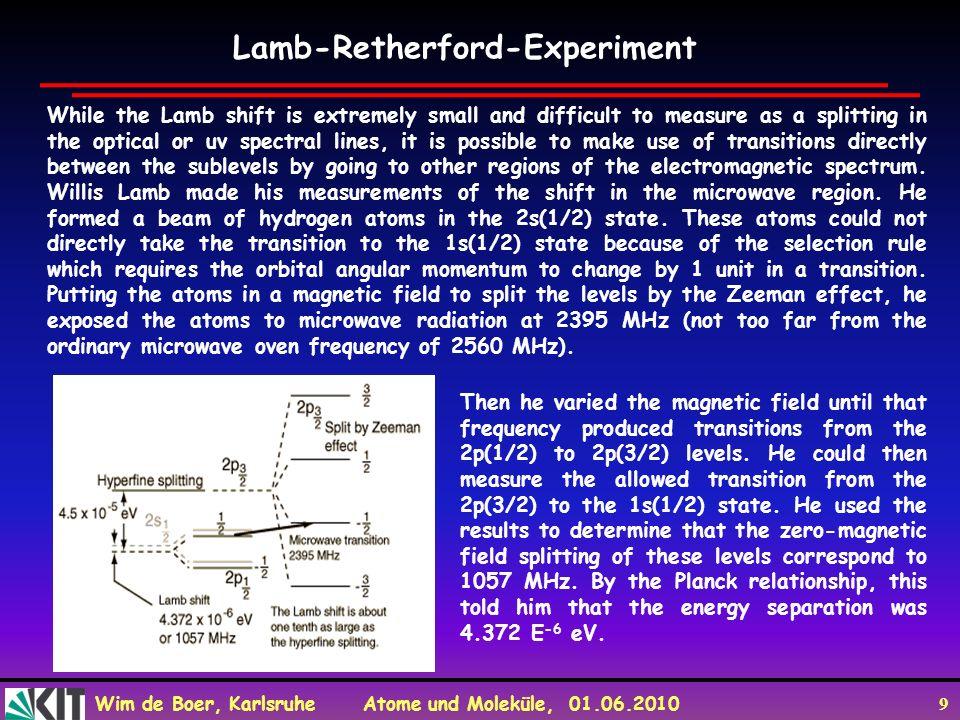 Wim de Boer, Karlsruhe Atome und Moleküle, 01.06.2010 10 Lamb-Retherford-Experiment