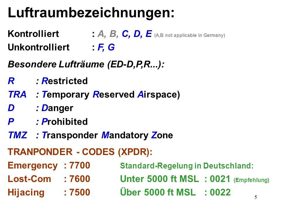 5 Luftraumbezeichnungen: Kontrolliert: A, B, C, D, E (A,B not applicable in Germany) Unkontrolliert: F, G Besondere Lufträume (ED-D,P,R...): R: Restri
