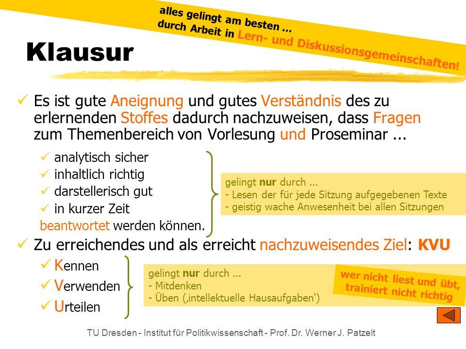 TU Dresden - Institut für Politikwissenschaft - Prof. Dr. Werner J. Patzelt Klausur gelingt nur durch... - Lesen der für jede Sitzung aufgegebenen Tex