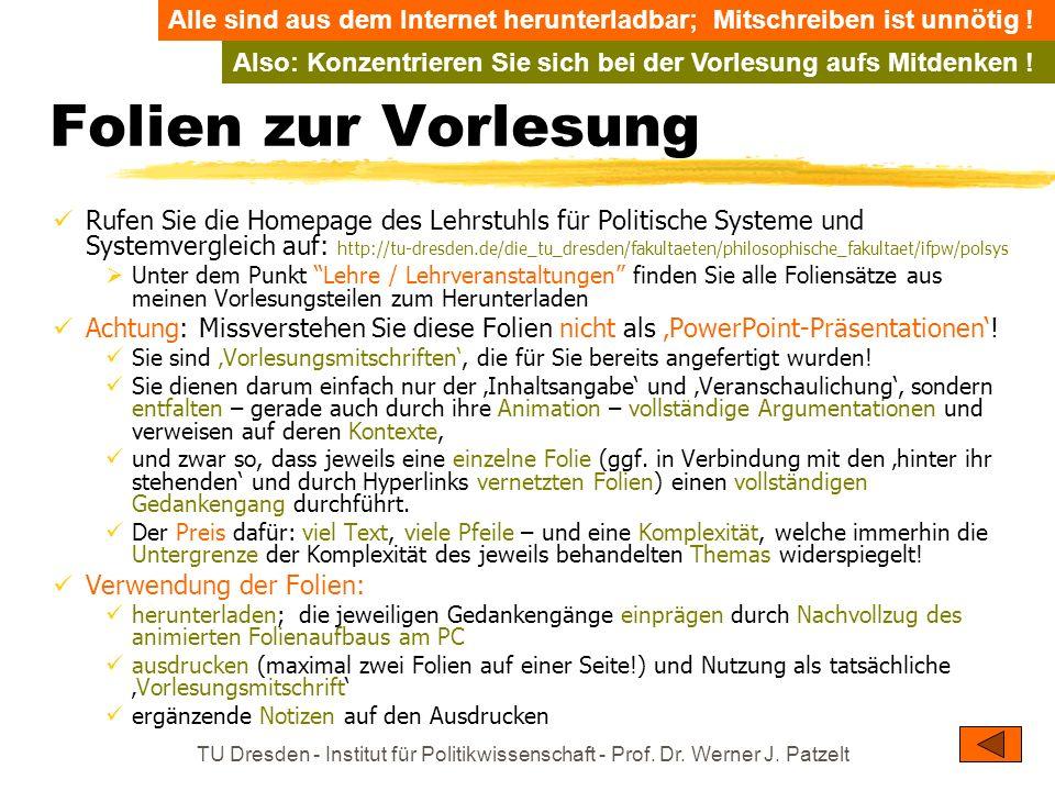 TU Dresden - Institut für Politikwissenschaft - Prof. Dr. Werner J. Patzelt Folien zur Vorlesung Rufen Sie die Homepage des Lehrstuhls für Politische